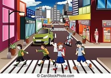 Kids crossing the street - A vector illustration of kids...