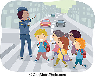 Kids Crossing the Street - Illustration of Kids using the...