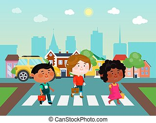 Kids crossing the street vector illustration. Children walking across the road. Boys and girl on the crossroad.