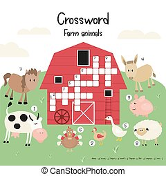 Kids Crossword in English. Magazine Book Puzzle Game with ...