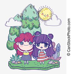 kids, cute little girls anime cartoon in the field trees sunny day sky
