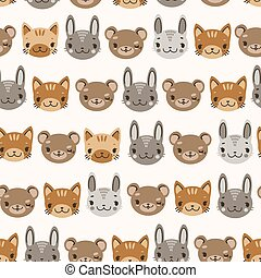 kids cute seamless pattern with heads of smiling animals