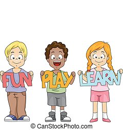 Illustration of Children Holding Cutouts