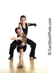 Kids dance latin - Young dancers isolated on white...