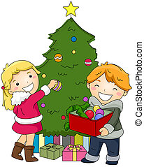 Kids Decorating a Christmas Tree - Illustration of Kids...