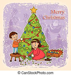 Kids decorating tree for Merry Christmas