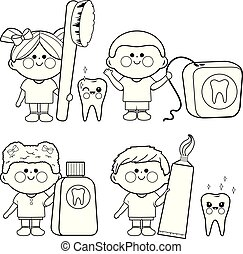 Kids dental vector set. Coloring book page