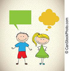 Kids design - kids design over pattern background vector...