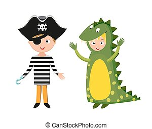 Kids different costumes isolated vector illustration....