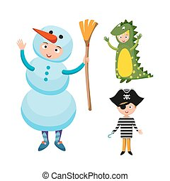 Kids different costumes isolated vector illustration. Dragon...
