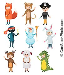 Kids different costumes isolated vector illustration. Dragon, crocodile, sheep, deer, snowman, bear, ninja, rabbit, fox, pirate