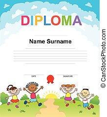 Kids Diploma certificate background design template