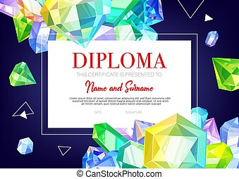 Kids diploma certificate, crystals and gems jewels, vector ...
