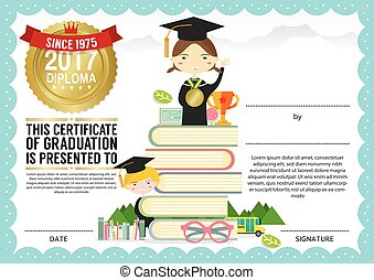 Primary school kids graduation diploma certificate design template kids diploma certificate template preschool elementary school kids diploma certificate background design template yelopaper Images