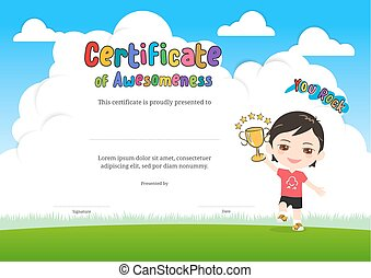 Kids Diploma or certificate of awesomeness template with cartoon style background