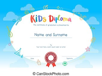 Kids Diploma or certificate template with cartoon style background