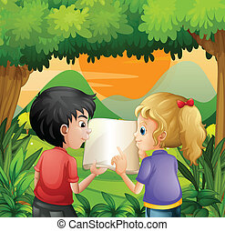 Kids discussing with a book at the forest