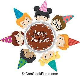 Kids Diversity around Birthday Cake