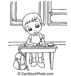 kids do homework in class cartoon coloring page vector...