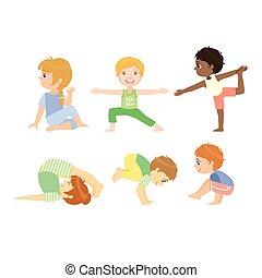 Kids Doing Advanced Yoga Poses Bright Color Cartoon Childish...