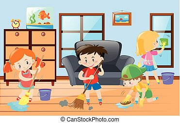 Kids doing chores at home
