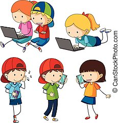 Kids doing different activities with entertainment devices