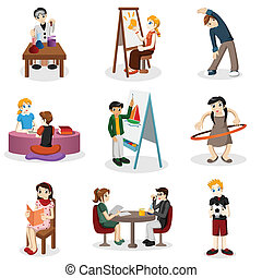 Kids doing educational stuff - A vector illustration of kids...
