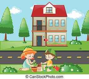 Kids doing gardening at home