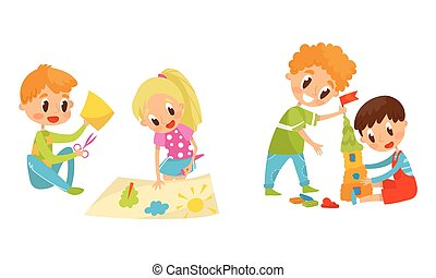 Kids Doing Paper Crafting and Modeling Castle from Plasticine Vector Set