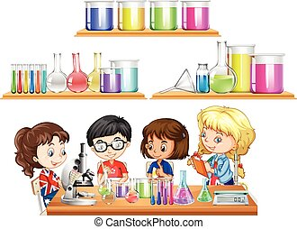 Kids doing science experiment and set of beakers
