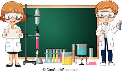 Kids doing science lab experiment with blackboard in background