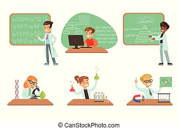 Kids doing science research in school science class laboratories, educational science activities for children vector Illustrations on a white background