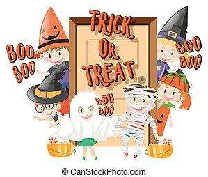 Kids doing trick or treat on halloween