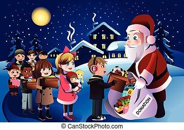 Kids donation during Christmas