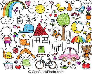 Kids' doodle - Collection of cute children's drawings of...