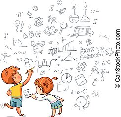 Boy and Girl draw a doodle on the wall