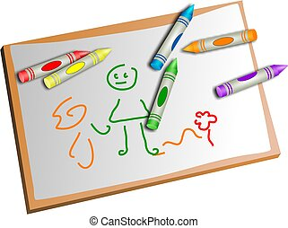kids crayons and drawing