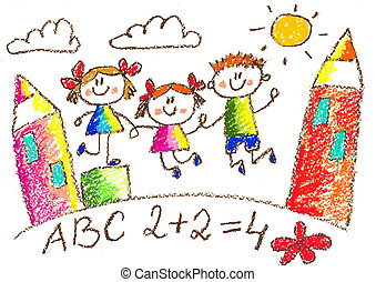 Kids drawing. Kindergarten. School. Happy children at playground. Crayon illustration.