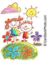 Kids drawing. Kindergarten. School. Happy children at playground. Crayon illustration. Back to school image.