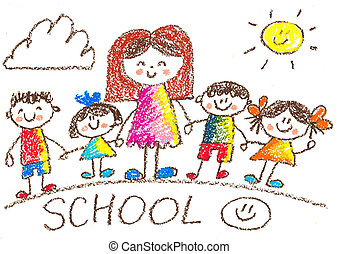 Kids drawing. Kindergarten. School. Happy children with teacher. Crayon illustration. Back to school image.