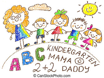 Kids drawing. Kindergarten. School. Happy children with teacher. Summer and rainbow, flower. Crayon illustration. Back to school image.