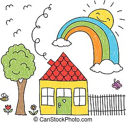 Kid's drawing of a house, rainbow a
