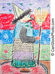 Kid's drawing of witch with broom