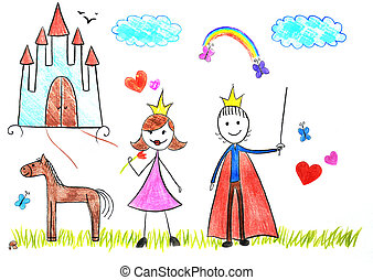 Kids drawing princess and prince picture on the wooden table