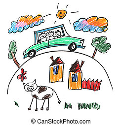Kids drawing style picture. Happy family traveling in car