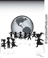 kids silhouettes and planet earth