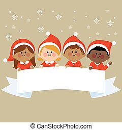 Kids dressed in Christmas costumes and horizontal blank banner. Vector illustration