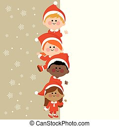 Kids dressed in Christmas costumes and vertical blank banner. Vector Illustration