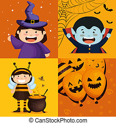kids dressed up as group characters vector illustration...