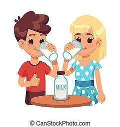 Kids drink milk. Cartoon children, boy and girl with milk glass. Healthy breakfast vector concept